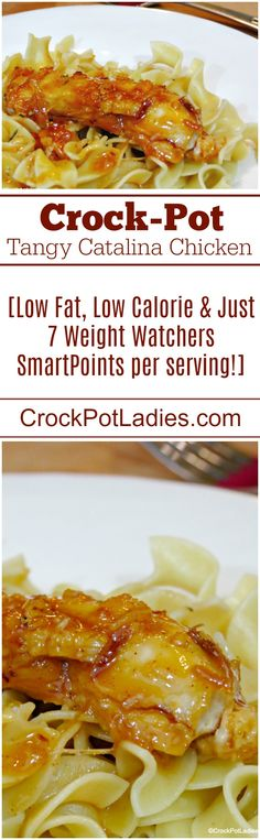 7 Weight Watchers SmartPoints -  Crock-Pot Tangy Catalina Chicken #crockpot #slowcooker #recipes #weightwatchers Crockpot Meat, Crockpot Dishes, 4 Ingredient Recipes, Low Calorie Recipes, Slow Cooker Recipes, Crockpot Recipes, Chicken Recipes, Cooking Recipes, Freezer Cooking