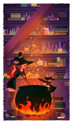 illustration I made that will be used in a fairytale book for children I am currently illustrating witchcraft in progress Animes Wallpapers, Cute Wallpapers, Religion Wicca, Harry Potter Film, Witch Art, Vampire, Witch Aesthetic, Halloween Art, Halloween Witches