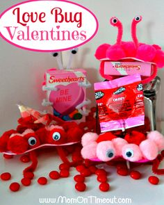 Love Bug Valentines from Mom On Timeout |  A perfectly delightful way to give Valentine's Day treats! #crafts #kids #ValentinesDay