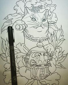 Japanese Tattoo Art, Japanese Tattoo Designs, Sketch Tattoo Design, Tattoo Sketches, Gato Angel, Lucky Cat Tattoo, Hannya Tattoo, Asian Tattoos, Japan Tattoo