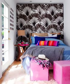 tiny bedroom idea 9 small-bedroom-design-with-colorful-space Design Your Bedroom, Small Bedroom Designs, Small House Design, Home Bedroom, Bedroom Decor, Extra Bedroom, Bedroom Sofa, Bedroom Ideas, Awesome Bedrooms