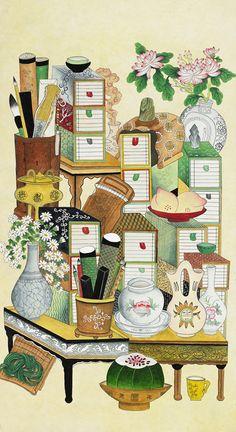 Korean Traditional Dress, Traditional Looks, Traditional Dresses, Korean Art, Ink Painting, Chinese Art, Folk Art, Oriental, Coloring