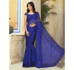Royal blue chiffon saree wtih cut work embroidery