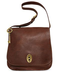 Fossil Handbag, Austin Leather Flap Shoulder Bag - Fossil - Handbags & Accessories - Macy's