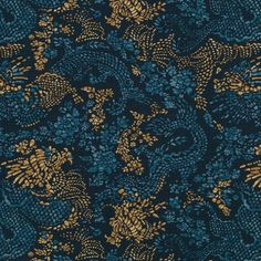 An impressionistic dragon print with a hand painted feel in deep midnight blue and warm cognac gold. Suitable for drapery, upholstery, roman blinds, cushions, p