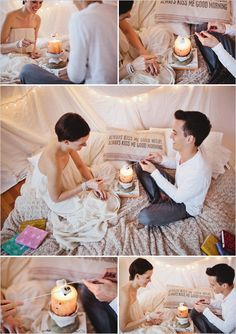 Smores over candle under an indoor  blankie fort! Date night !!-love the pillow!