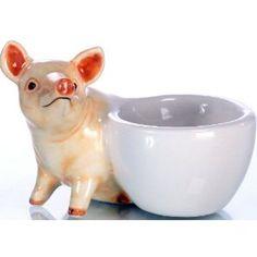Piggy egg cups: Eierbecher Set 2 Schweine, beige