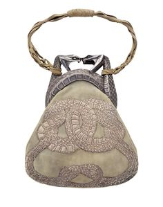 jewelryporn:    René Lalique, Purse with Two Serpents, (1901-03). Gold, silver, antelope suede, and silver thread.