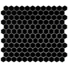 Merola Tile Metro Hex Glossy Black 10-5/8 in. x 12 in. Porcelain Mosaic Floor and Wall Tile-FXLMHB at The Home Depot