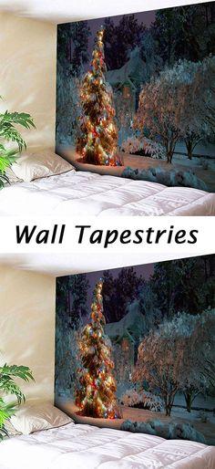 Christmas decor ideas:Christmas Tree Snowscape Wall Decor Tapestry