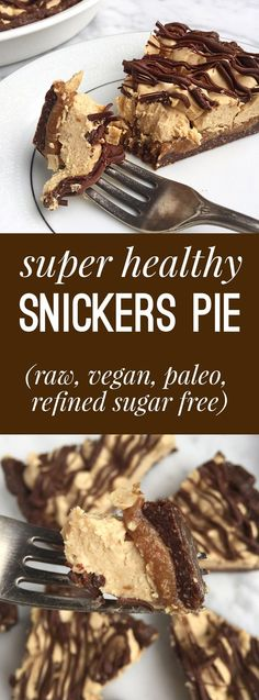 Super healthy snickers pie - the gluten free refined sugar free paleo vegan raw ooey gooey chocolatey caramely peanut butter-y Snickers Pie recipe.