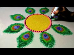 Ideas For Christmas Bird Crafts Free Pattern Rangoli Designs Peacock, Rangoli Designs Latest, Simple Rangoli Designs Images, Small Rangoli Design, Rangoli Patterns, Colorful Rangoli Designs, Rangoli Ideas, Rangoli Designs Diwali, Diwali Rangoli