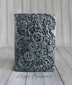 New Year's Eve Steampunk Home Decor, Steampunk Book, Mixed Media Canvas, Mixed Media Collage, Metal Tape Art, Wooden Books, Mechanical Art, Beautiful Book Covers, Punk Art
