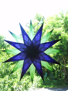 Violet and Lime 16 Point Waldorf Window Star door harvestmoonbyhand, $19.00