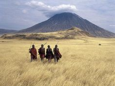 Maasai Warriors Stride across Golden Grass Plains at Foot of Ol Doinyo Lengai, 'Mountain of God' Photographic Print by Nigel Pavitt Tanzania, National Geographic, Valle Del Rift, Rift Valley, Destinations, Active Volcano, Kilimanjaro, Wall Art For Sale, Expositions