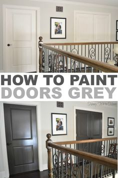 Front and back door color--How to paint doors grey Dark Doors, Grey Doors, Wood Doors, Brown Doors, Style At Home, Home Renovation, Home Remodeling, Basement Renovations, Interior Door Colors
