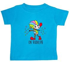 Inktastic On Rudolph Baby T-Shirt Clown Reindeer Red Nose Santa Christmas Holiday Confetti Funny Xmas Lol Humor Crude T-shirt Infant Tees Shower Gift Clothing Apparel, Infant Boy's, Size: 24 Months, Blue