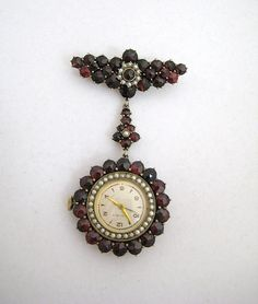 Garnet and Seed Pearl (17 Rubis) Watch Pin, 17 Jewels Movement, Gilt and 800 Silver (2NE) - $400