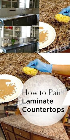Laminate countertops, how to paint countertops, laminate counters, popular pin, painting hacks, home improvement, home upgrades, home DIY, easy home DIY, DIY weekend projects