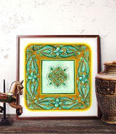 Traditional Italian Majolica Design Watercolor by HermesArts
