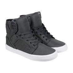 Supra Skytop Mens Grey White Nylon High Top Lace Up Sneakers Shoes #Supra #FashionSneakers