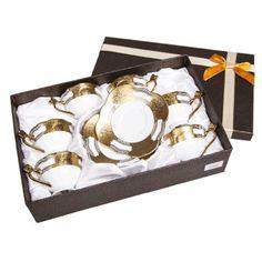 Fidex Home 3 lü Kahve Fincanı Altın