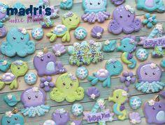 Purple, Turquoise & Green Octopus, Turtles and Seahorse Under the Sea Cookies Mermaid Cookies, Fish Cookies, Turtle Cookies, Cake Icing, Royal Icing Cookies, Cupcake Cookies, Cupcakes, Mermaid Baby Showers, Best Sugar Cookies