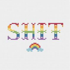 PATTERN: Sht w Rainbow Cross Stitch Pattern Funny by jimjamcrafts