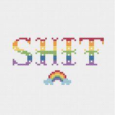 PATTERN: Sh*t w Rainbow Cross Stitch Pattern - Funny Swearing Cross Stitch Pattern
