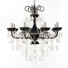 #chandelier #design #lysekroner #lamper #interior #lamps #lamp #interiør #butikk #nettbutikk Sort Lysekrone, Klare krystaller. Victoria åtte armer Straale®    Lamper & Lysekrone på nett - Lunelamper   Nettbutikk