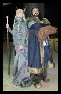 Thorin Oakenshield cosplay handmade and modeled by Dani's Cosplay. Thranduil and original photo by Day and Knight Productions.   #Thorin #ThorinOakenshield #Thranduil #elves #dwarves #TheHobbit #DesolationofSmaug #Cosplay