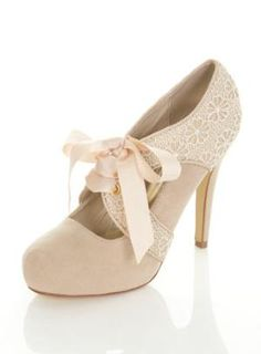 lace, ribbons ivory oxford style heels