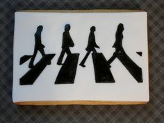 Abbey Road / The Beatles silhouette hand painted on fondant - sugar cookie http://www.facebook.com/cakesetcbydana