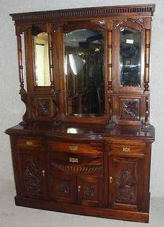 Large Carved Handsome quality solid Walnut Sideboard/Dresser with Mirrored Top