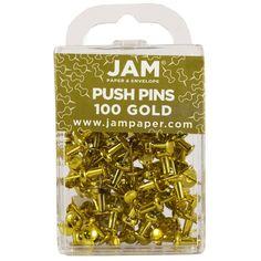 Amazon.com : JAM Paper® - Gold Push Pins / Thumb Tacks - 100 Colorful Pushpins per Container : Tacks And Pushpins : Office Products
