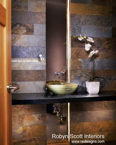 #aspen #colorado #powderroom #bathroom #modern #floatingvanity #topmountsink #sinkvessel www.rsidesigns.com