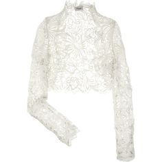 Temperley London Selena lace shrug (£695) ❤ liked on Polyvore featuring outerwear, tops, jackets, cardigans, lace shrug, cardigan shrug, temperley london, ivory shrug and shrug cardigan