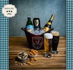 Kit 3 Estrelas  Cervejas: Vedett, Guiness, Leffe Blonde  Aperitivos: Milho gigante picante, uma porção de  Nuts (mix de castanhas- castanha de caju, baru e amendoim)  Duas taças personalizadas  Balde de gelo em acrílico personalizado  #diadospais #presente #cervejasespeciais #cerveja #beer #vedett #guinness #leffe