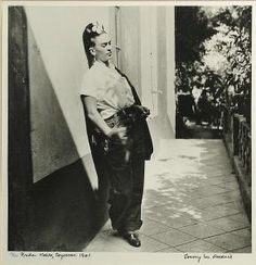 Photograph of Frida Kahlo in Coyoacan, Mexico, from the Emmy Lou Packard papers, Diego Rivera, Frida E Diego, Frida Art, Frida Kahlo Exhibit, Mexico Art, Mexican Artists, Iconic Women, Moustache, Pants For Women