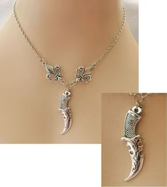 Silver Dagger & Fleur de Lis Pendant Necklace Jewelry Handmade NEW Chain  #handmade #Pendant http://www.ebay.com/itm/Silver-Dagger-amp-Fleur-de-Lis-Pendant-Necklace-Jewelry-Handmade-NEW-Chain-/162426565542?ssPageName=STRK:MESE:IT