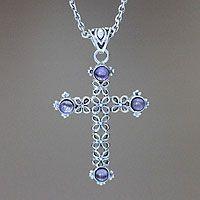 'Jasmine Light' amethyst cross #necklace