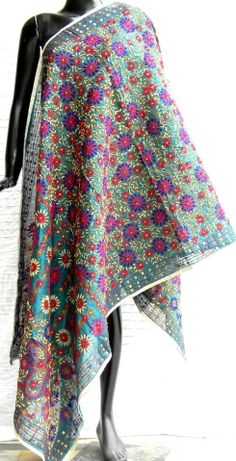 Steal the show at the next party you attend in this stunning phulkari work chanderi dupatta. It has been heavily embroidered in a vibrant colored floral pattern, with wool thread and sequins.