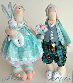 Купить Текстильный весенний зайка Louis - Пасха, тильда, Декор, подарок для женщины, текстильные игрушки