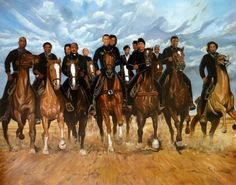"""""""Freedom Riders"""" by Kolongi Brathwaite. Love this art print! Included in this art print are the following African American history makers and icons: Tupac Shakur, Harriet Tubman, Martin Luther King, Coretta King, Barack Obama, Michelle Obama, Malcolm X, Betty Shabazz, Huey Newton, Bob Marley, Nelson Mandela and Muhammad Ali."""