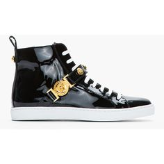 new concept 2db82 0346b VERSACE Black Patent Gold Logo High Top Sneakers ( 675) ❤ liked on Polyvore  Stridskängor