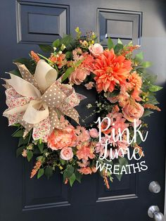 Peach spring wreath for front door, spring door wreath, front door wreaths, spring wreaths, peach wreath, spring grapevine wreath, spring This beautiful spring wreath is sure to welcome all guests to your home this spring. Measurements are 29H x26 W x 4D All of my wreaths are