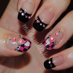 Embellished hello kitty nail art for you! A favorite cartoon character has been the inspiration for this nail art added with some bling. Recreate this manicure with the must have polishes here. Dream Nails, Love Nails, Pretty Nails, Gorgeous Nails, 3d Nail Art, Nail Arts, Art 3d, Hello Kitty Nails, Valentine Nail Art