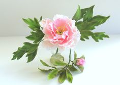 Gumpaste Peony with bud and leaves - Shaile's Edible Art