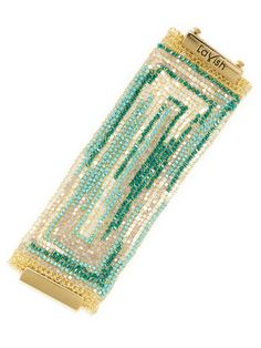 Blue Multi Wide Beaded Bracelet by Lavish by Tricia Milaneze at Gilt