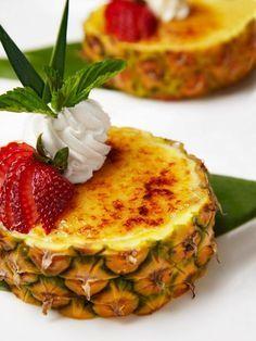 Pineapple Creme Brulee | HGTV >> http://www.hgtv.com/design/make-and-celebrate/entertaining/pineapple-creme-brulee-recipe?soc=pinterest